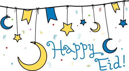 star and crescent: Illustration Celebrating Eid al-Fitr Stock Photo