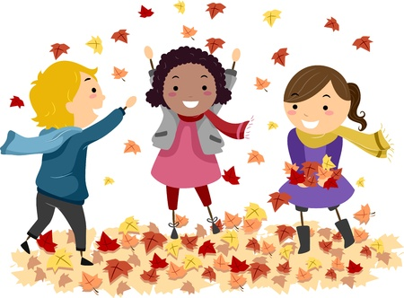 playtime: Illustration of Stick Kids Playing with Autumn Leaves Stock Photo