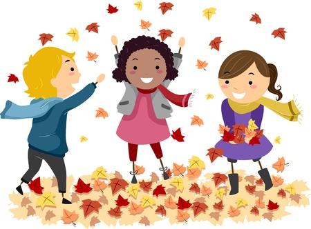 cartoon autumn: Illustration of Stick Kids Playing with Autumn Leaves Stock Photo