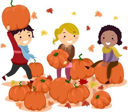 pumpkin leaves: Illustration of Stick Kids Playing with Pumpkins Stock Photo