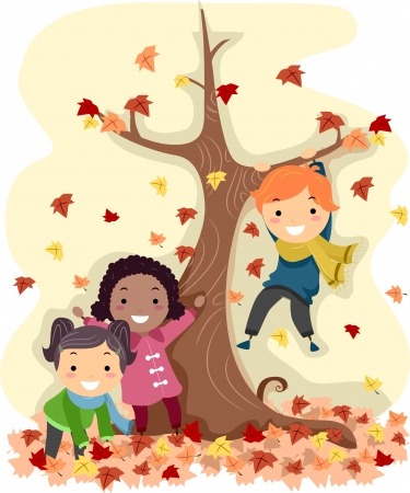Illustration of Stick Kids Playing with Autumn Leaves Stock Photo