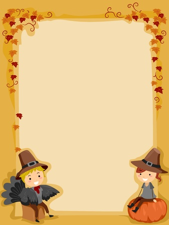 Background Illustration Featuring Kids Wearing Thanksgiving Costumes Stock Illustration - 11378291