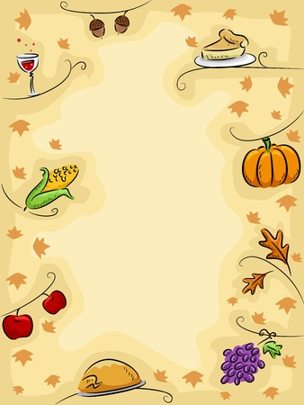Background Illustration Featuring Thanksgiving Related Items Stock Illustration - 11378355