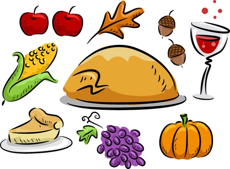 Icon Illustration Featuring Thanksgiving Related Items illustration