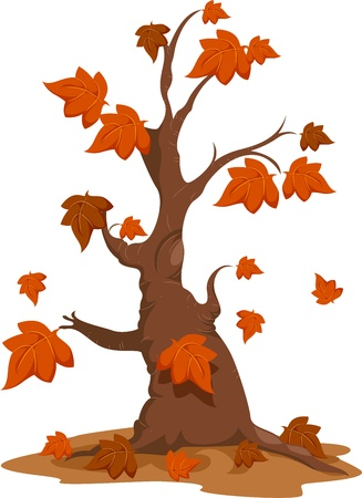 cutout: Illustration of an Autumn Tree with Falling Leaves Stock Photo