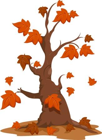 arboles de caricatura: Ilustraci�n de un �rbol de oto�o con las hojas que caen
