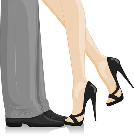 kiss couple: Illustration of a Couple at a Formal Event with the woman leaning in Stock Photo