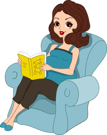 Illustration of a Pregnant Pinup Girl Reading a Baby Book illustration