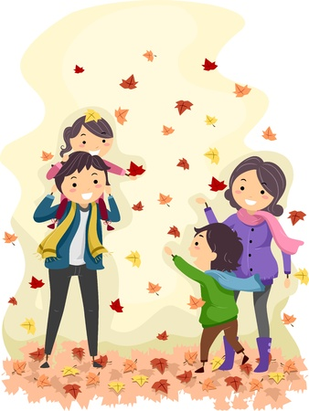 siblings: Illustration of a Family Enjoying an Autumn Day