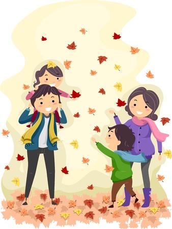 Illustration of a Family Enjoying an Autumn Day Stock Illustration - 11378349