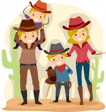 vaqueritas: Ilustración de una familia vestida de vaqueros