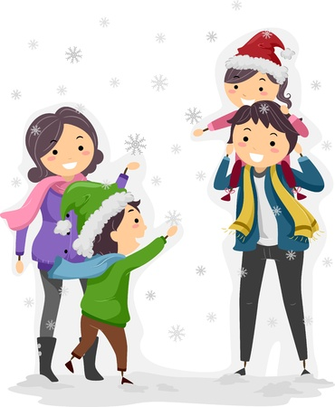 snow man: Illustration of a Family Enjoying a Winter Day Stock Photo