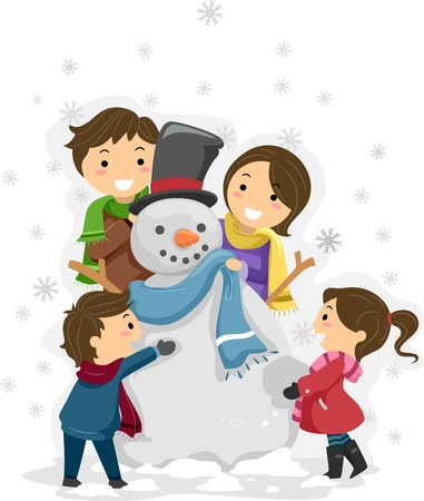 winter time: Illustration of a Family Playing with a Snowman