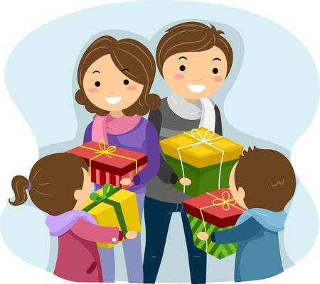 convivencia familiar: Ilustraci�n de una familia de intercambio de regalos de Navidad Foto de archivo