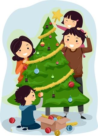 convivencia familiar: Ilustraci�n de una familia de adornar un �rbol de Navidad Foto de archivo