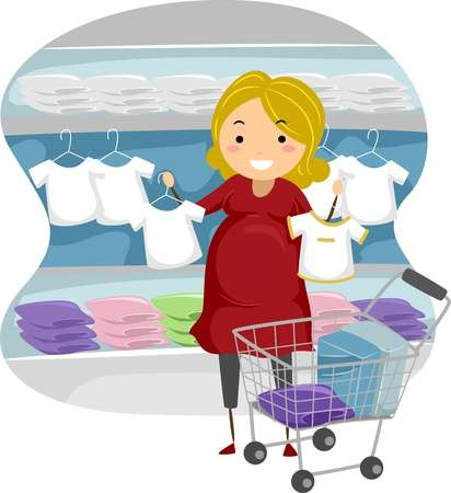 maternity: Illustration of a Mother-to-be Shopping for Baby Clothes Stock Photo