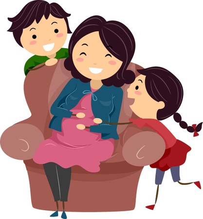 Illustration of a Pregnant Stickwoman Surrounded by Her Kids illustration