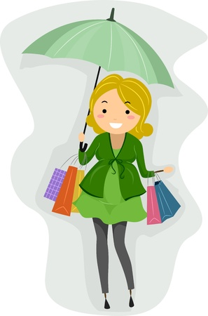 Illustration of a Pregnant Stickwoman Out Shopping illustration