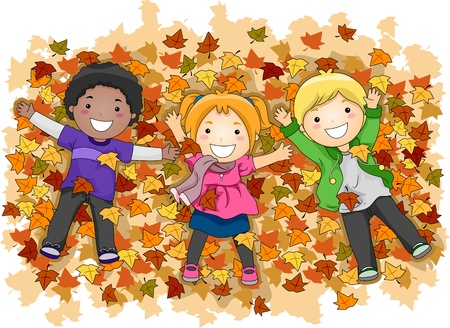 Illustration of Kids Playing with Autumn Leaves illustration