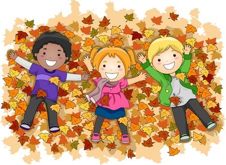 niños jugando caricatura: Ilustración de Niños jugando con hojas de otoño