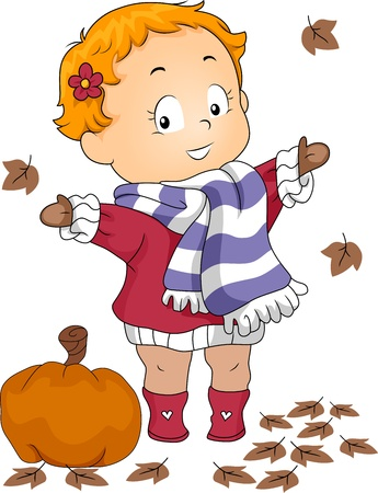 Illustration of a Baby Playing with Autumn Leaves illustration