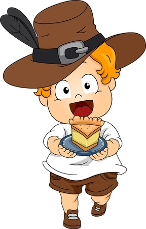 pilgrim costume: Illustration of a Baby Wearing a Thanksgiving Costume
