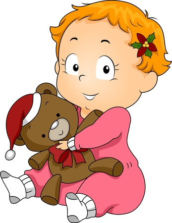 Illustration of a Kid Holding a Teddy Bear with a Christmas Costume illustration