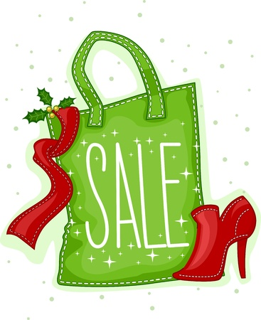 christmas promotion: Illustration of a Paper Bag Marked with a Sale Tag
