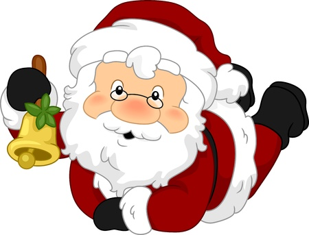 Illustration of Santa Claus Holding a Bell illustration