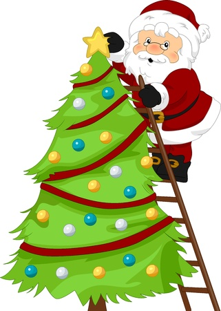 Illustration of Santa Claus Decorating a Christmas Tree illustration