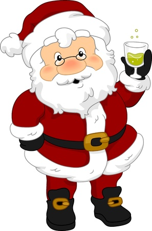 Illustration of Santa Claus Holding a Drink illustration