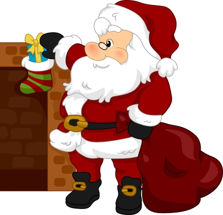 Illustration of Santa Claus Putting a Gift on a Christmas Stocking illustration