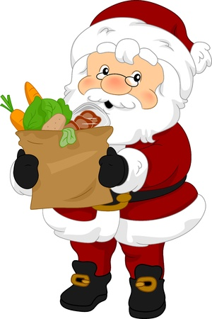 food supply: Illustration of Santa Claus Carrying Groceries
