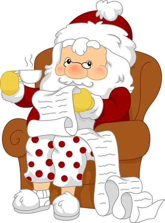Illustration of Santa Claus Reviewing His List