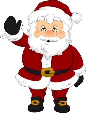 clip art santa claus: Illustration of Santa Claus Waving Stock Photo