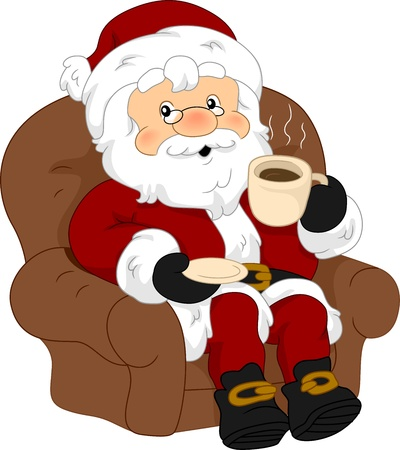 Illustration of Santa Claus Enjoying a Cup of Coffee illustration