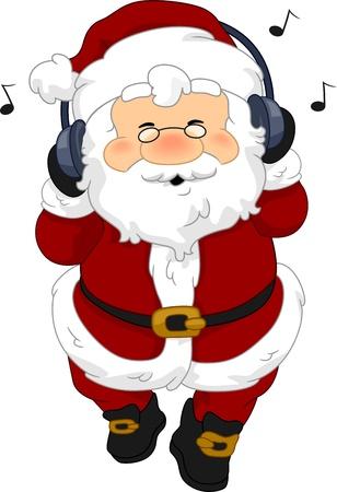 Illustration of Santa Claus Listening to Music illustration