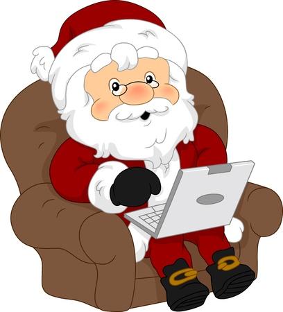 using laptop: Illustration of Santa Claus Using a Laptop