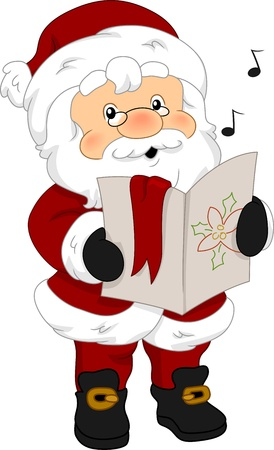 Illustration of Santa Claus Holding a Music Sheet illustration