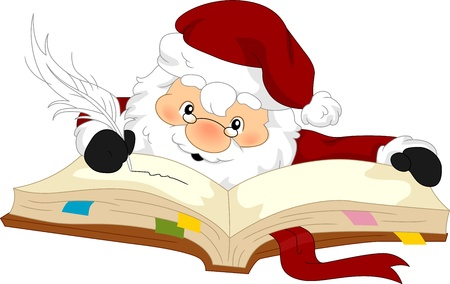 Illustration of Santa Claus Writing on His Planner