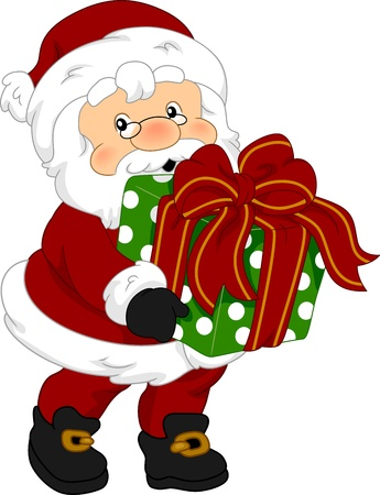 Illustration of Santa Claus Holding a Gift illustration