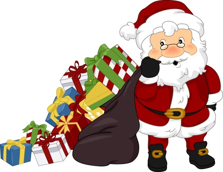 cartoon santa: Illustration of Santa Claus Carrying Christmas Presents