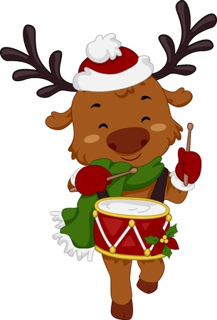 Illustration of a Reindeer Playing the Drums Stock Photo