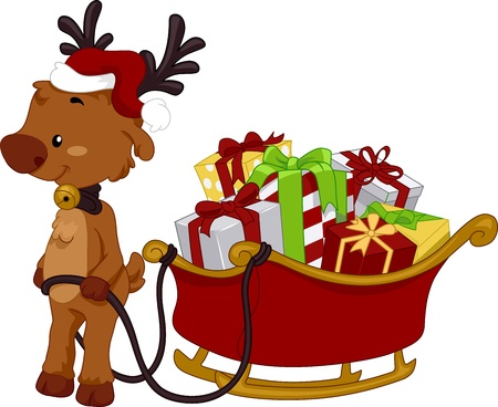 santa hat: Illustration of a Reindeer Pulling a Sled Full of Gifts Stock Photo
