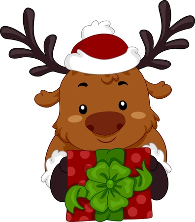 Illustration of a Reindeer Holding a Christmas Gift  illustration