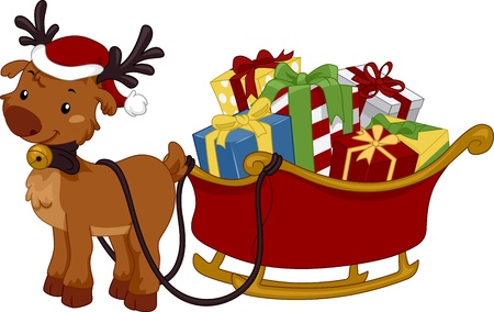 christmas sleigh: Illustration of a Reindeer Pulling a Sled Full of Gifts Stock Photo