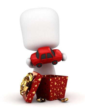 3D Illustration of a Kid Opening His Gift Stock Illustration - 11467641