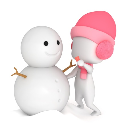 3D Illustration of a Kid Making a Snowman illustration