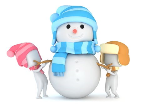 snowman 3d: 3D Illustration of Kids Making a Snowman
