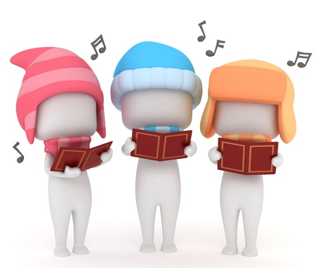 carolers: 3D Illustration of Kids Singing a Christmas Carol Stock Photo